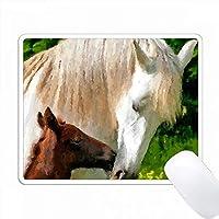 馬はデジタルアートの水彩を愛しています PC Mouse Pad パソコン マウスパッド