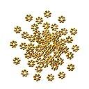 PandaHall Elite 約2000個/箱 ゴールド 合金製 スペーサービーズ チベットスタイル ロンデル 花座 フラワー ビーズキャップ ジュエリー用 アクセサリーパーツ ブレスレット ネックレスなど 手作り素材