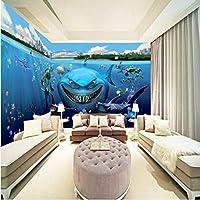 Wuyyii カスタムサイズの写真3Dステレオカスタムアンダーウォーターワールドサメテーマの背景壁紙子供部屋幼稚園水族館壁画-250X175Cm