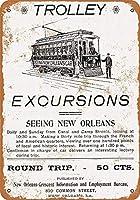 なまけ者雑貨屋 New Orleans Trolley Excursions メタルプレート レトロ アメリカン ブリキ 看板 バー ビール おしゃれ インテリア