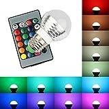 B2ocled 16色 マルチカラー E26/27 3W RGB LED 電球 AC85V-265V 25W一般電球相当 24キーリモコン付 (4個入)