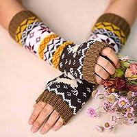 Zoestar Winter Arm Warmers Crochet Knit Fingerless Gloves with Thumb Hole Long Elk Arm Gloves for Women (Khaki)