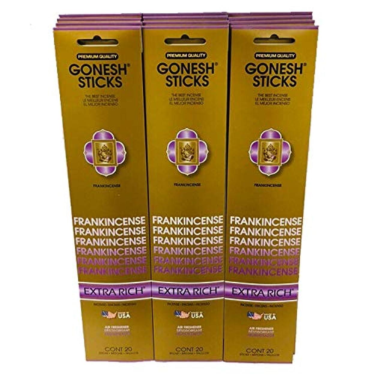 欲求不満くすぐったいなだめるGonesh Incense Sticks Extra Richコレクション – 12 Frankincenseパック( 240sticks )