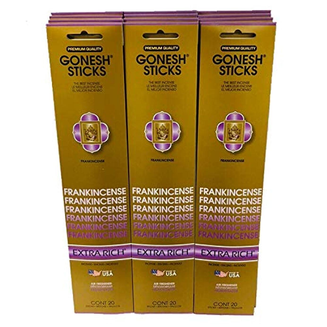 飢え再発する保証Gonesh Incense Sticks Extra Richコレクション – 12 Frankincenseパック( 240sticks )