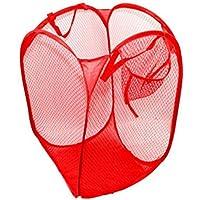 Sharplace 2個入 ランドリーバスケット かご メッシュ 衣類 洗濯物 通気性 軽量 持ち運び 赤