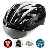 Shinmax自転車ヘルメット, LEDライト付きサイクルヘルメット 安全ライト付き自転車ヘルメット ゴーグル超軽量自転車ヘルメット アダルト自転車ヘルメット 取り外し可能なシールドサンバイザー付き (黒)