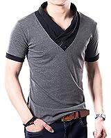 ONE LIMITATION(ワン リミテーション) メンズ スタイリッシュ Vネック 半袖 & 長袖 Tシャツスリム スカーフ風 カジュアル カットソー TSL001