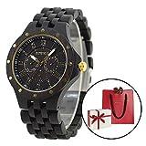 木製腕時計 ウッド 腕時計 メンズ アナログ腕時計 天然木 カレンダー付き 多針アナログ表示 夜光 生活防水機能 彫刻 手作り クリスマスプレゼント 贈り物 (ブラック)