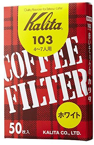 カリタ コーヒーフィルター 103濾紙 箱入り 4~7人用 50枚入り ホワイト #15001