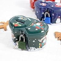 HuaQingPiJu-JP クリスマスダブルハート型の貯金箱プレミアムティンプレート収納ボックス(ロック付き)