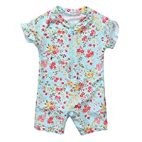 BeautyIn Baby Girls Floral Rash Guard Swimsuit Short Sleeve Bathing Suit
