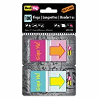 """REDI-TAG CORPORATION 72038 Pop-Up Fab Flags W/Dispenser,""""Sign Me"""", Magenta/Orange; Teal/Yellow, 100/Pack"""