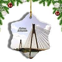 Weekinoインドネシアベアラン橋クリスマスオーナメントクリスマスツリーペンダントデコレーション旅行お土産コレクション陶器両面デザイン3インチ