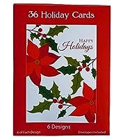 36光沢クリスマスHoliday 6異なるパターンなど、カード–ツリー、ストッキング、ポインセチア、花輪 36