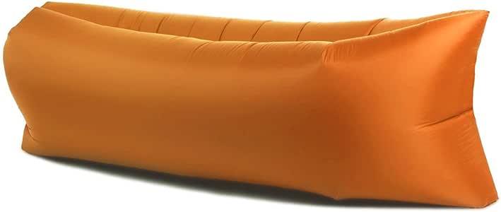 AIR SOFA エアーソファー アウトドア エアーベッド 空気 クッション 寝具 ベンチ キャンプ 折り畳み 収納袋付き (オレンジ)