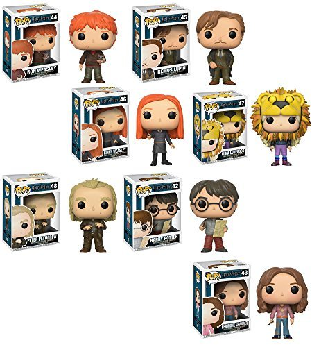 Funko POP Harry Potter ( Marauders Map)、Hermione Granger ( time-turner ) , Ron Weasley ( Scabbers)、リーマス・ルーピン、Ginny Weasley、Luna Lovegood (ライオン帽子)、ピーター・Pettigrew Vinyl Figures Set