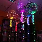20インチ発光ledバルーン多色透明ラウンドバブルデコレーションパーティー結婚式の家クリスマスプレゼントデコレーション(10pcs)