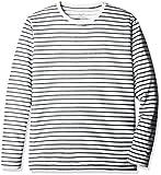 (ミズノ)MIZUNO クイックドライ ボーダー 長袖 クルーネックシャツ [ジュニア] A2JA6435 14 ドレスネイビー 150