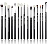 Jessup 15Pcs Professional Makeup Brushes Set Make up Brush Tools kit Cosmetics Tools Eye Liner Shader Wood Handle Natural-synthetic Hair Brushes Pearl Black/Silver T177 (Black/Silver)