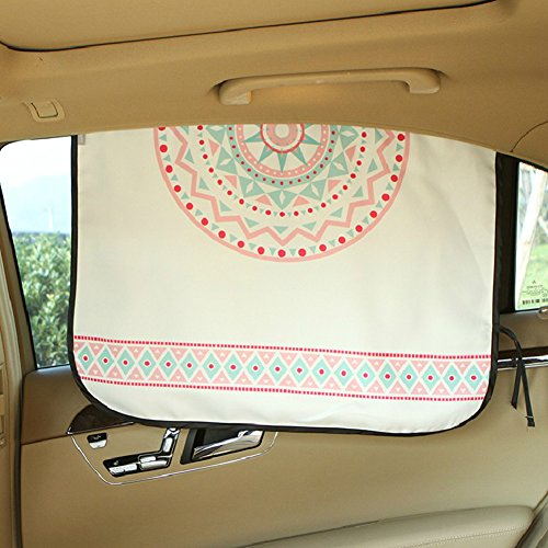 Ymgot 車用 遮光サンシェード 日よけカーテン 1枚入り UVカット 紫外線カット 簡単取付 ボヘミア