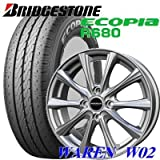 【アルミ付低燃費タイヤ4本セット】 BRIDGESTONE 145R12 6PR ECOPIA R680 12X4.00B 4穴 PCD:100 WAREN W02