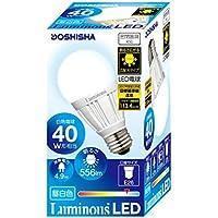 ルミナス LED電球 E26口金 40W相当 昼白色 広配光タイプ 密閉器具対応 EGD-A40GN