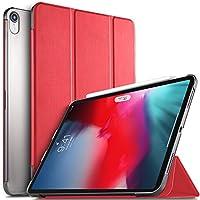ipad pro 11 ケース ELTD iPad 11インチ2018最新版専用カバー 半透明ケース スタンドオートスリープ機能付き 極薄 超軽量 傷つけ防止 耐久性 7色可選 レッド