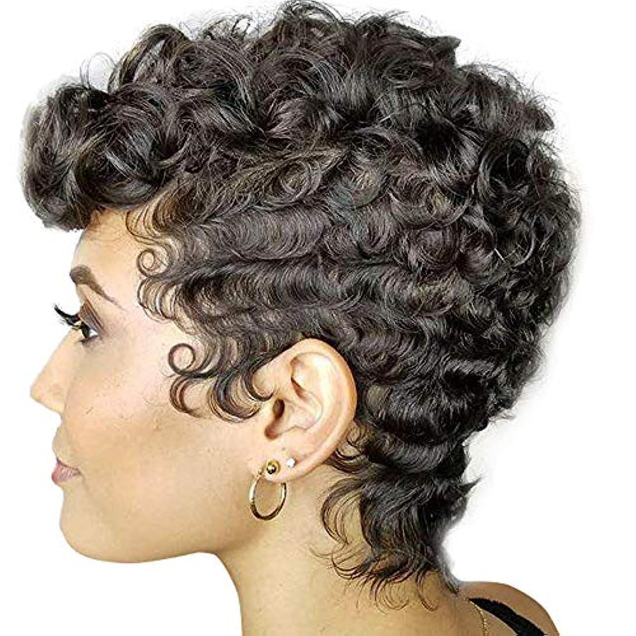 セール意欲抑止する女性ブラジル人毛ウィッグ合成カーリーウェーブヘアショートアフロカーリー爆発ヘッド180%密度黒8センチ