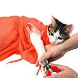 MKUTO 猫用 みのむし袋 おちつくネット シャンプー お風呂 爪切り 耳掃除 グルーミング 暴れない (オレンジ)