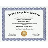 Driving Range Golf Golfing Degree: Custom Gag Diploma Golfer Doctorate Certificate (Funny Customized Joke Gift - Novelty Item) by GD Novelty Items [並行輸入品]