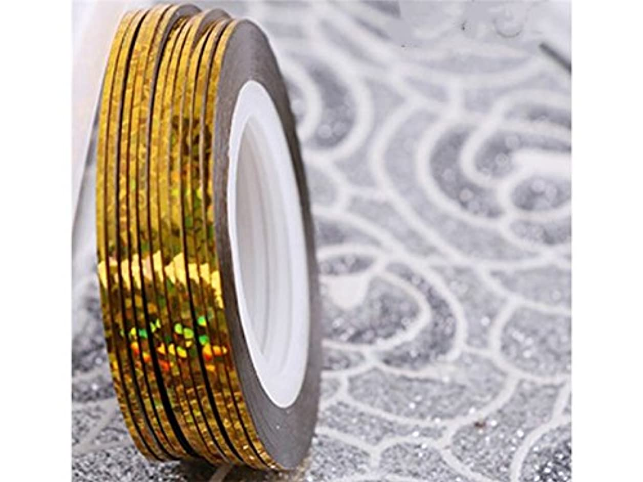 規制する体カヌーOsize ネイルアートキラキラゴールドシルバーストリップラインリボンストライプ装飾ツールネイルステッカーストライピングテープラインネイルアートデコレーション(ゴールデン)