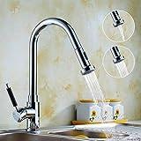 Auralum キッチン用 蛇口 キッチン水栓 じゃぐち ハンドシャワー形 ノズル 伸縮 ホース引出し 水 湯 切り替え クロムメッキ 混合栓 シングルレバー