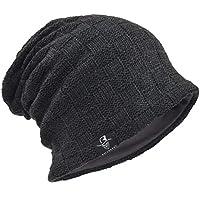 Men's Slouch Knitted Beanie Hat Crochet Stripe Winter Cap Oversized B318