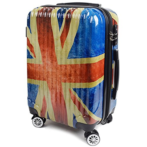 【神戸リベラル】 LIBERAL ポリカーボネート 軽量 S,M,Lサイズ スーツケース キャリーバッグ 拡張型 8輪キャスター TSAロック付き (Sサイズ(1-3泊用 40/50L), フラッグ)