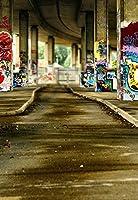 5x 7ft laeaccoビニールシンBackdrop写真背景グラフィティon elevated pierシーンGraffiti Street Backdrop for Photo Studio Props 1.5X 2.2m