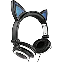 Cat Ear HeadphonesAuker Cute Glowing Blinking Cat-Ear HD Stereo Noise Cancellation Headset Over the Ear with Led Flash Light for iphone 7/7+/6s/6+/5s-SE/5C/4sSamsung Tablets&Android Phones (Blue) [並行輸入品]
