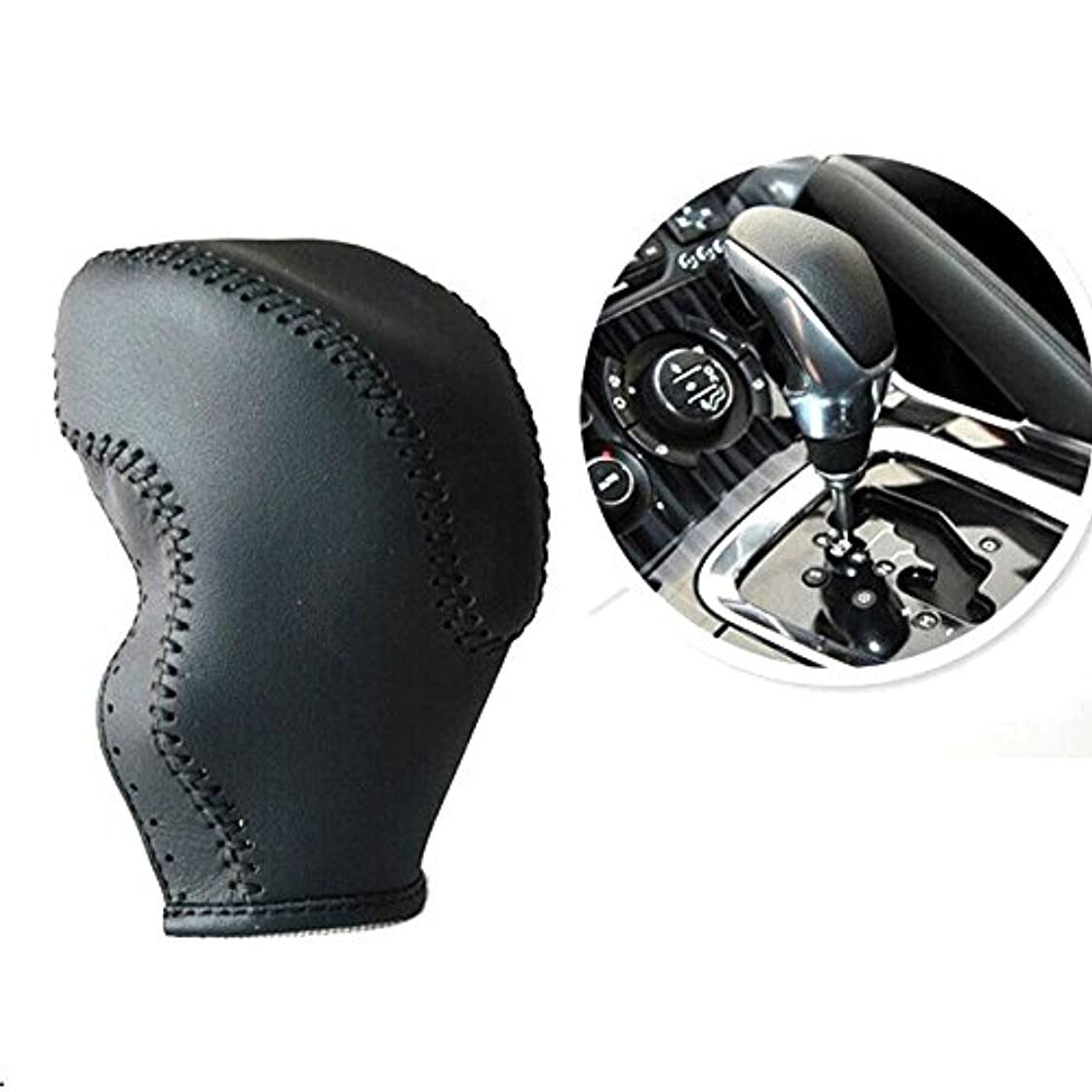 ハーフパートナー乗り出すJicorzo - プジョー3008 2014から16のために車のブラックレザー変速ノブ装飾カバートリムインテリアスタイリングアクセサリーフィット
