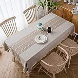 テーブルクロス テーブルカバー 食卓カバー リネン 綿麻 テーブルクロス 北欧風 刺繍 長方形 円形 装飾 天然素材 抗菌加工 耐久性 厚手 水洗い (ベージュ, 140*180cm)