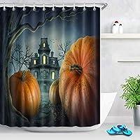 ハロウィンシャワーカーテン、森のかぼちゃお化け屋敷シャワーカーテン浴室用防水布フック付き 180X180 CM