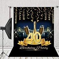 HUAYI 5x7フィート 40歳の誕生日パーティー背景 写真背景 キャンディテーブル装飾 ゴールドシャンパン スタジオ小道具 Sm-073