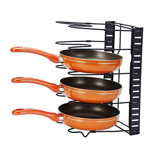 Kuanguang フライパン・鍋・ふたスタンド 伸縮タイプ 伸縮式フライパン 鍋ブタスタンド キッチンツール スタンド