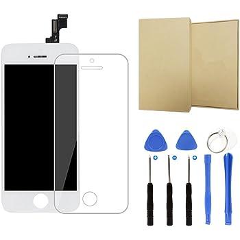For iPhone SE フロントパネル タッチパネル 液晶パネル 画面修理交換用LCD フロントガラス デジタイザー 修理工具セット付き (白)