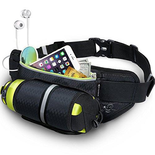 MYCARBON防水 バッグ ランニング ポーチ ランニング バッグ ペットボトル ホルダー付きウエストポーチ スポーツ用ウエストバッグ ウォーキングバッグ ジョギングポーチ 登山 遠足 夜間ウォーキング サイクリング ランニング・ジョギング 旅行 レジャー等活用 防水 軽量 iPhone 7 Plus/6S Plus Sony Galaxy S6 S7 Note 6 6.6インチまでのスマホに活用 ボトルケージとして 収納伸縮可能 装着感抜群