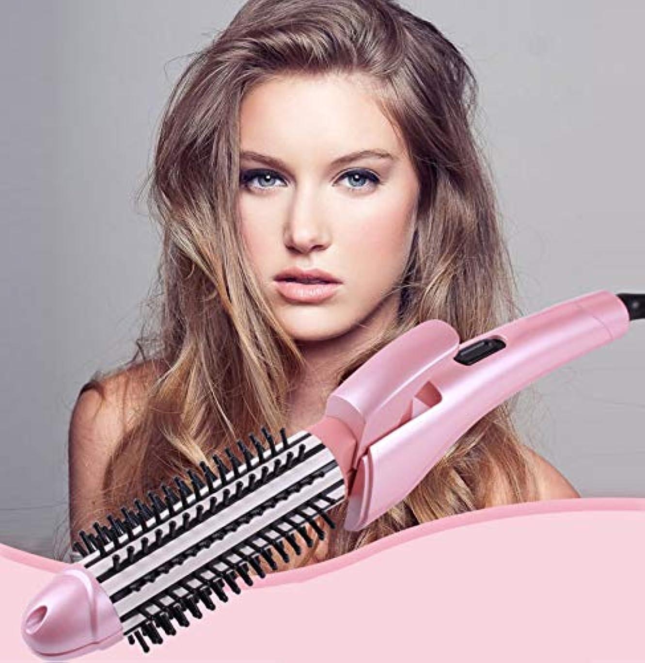 からに変化する弾力性のある積極的に折りたたみ調整ミニポータブルベルト2 in 1巻き毛くしストレートヘアスティック(ピンク)