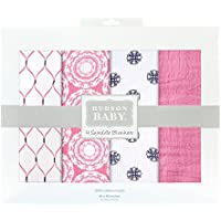 Hudson Baby 4 Piece Muslin Swaddle Blanket, Pink Mandalas by Hudson Baby
