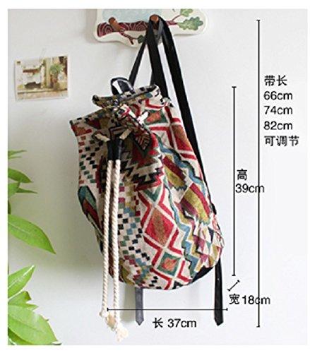 yukinko(ゆきんこ) エスニック バックパック リュック 幾何学 模様 巾着 型 ショルダー