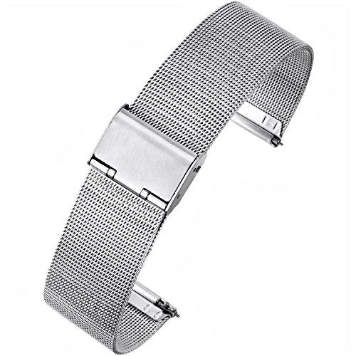 【TON CHARME】トンチャーメー 腕時計用ベルト ステンレスメッシュ 網目(小)イージークリック ワンタッチ腕時計バンド メタル ミラネーゼ 18/20/22mm (20mm, シルバー)