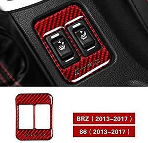 スバルBRZトヨタ86 2013-202、カーボンファイバーシートヒーターボタン車のステッカーとデカールTRD STIトリムカバーカースタイリング (TRD RED With Hole)