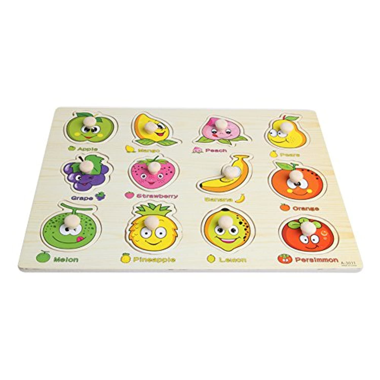 kocomeベビー子供フルーツ木製魅力的な初期学習ハンドパズルプレートToys