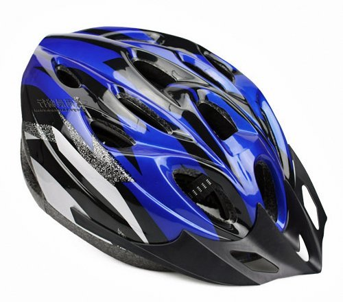【ノーブランド品】クールスタイル! 超軽量 高剛性! 自転車用 サイクリング ヘルメット (ブルー&ブラック)